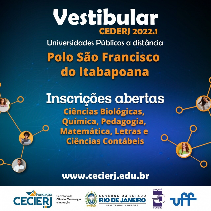 Vestibular Cederj oferece 233 vagas em seis cursos gratuitos de graduação a distância para o polo de SFI
